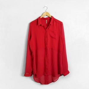 FREE PEOPLE Red Polyester Button Down Shirt